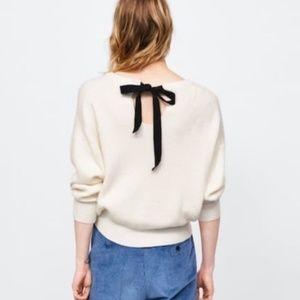 Zara Knit White Tie Back Cozy Sweater Small